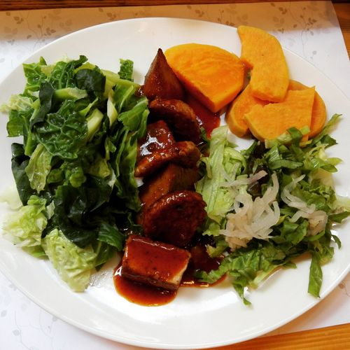 Close-up of meal served on plate