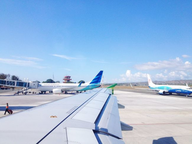 Ready to Take off Citilink Lion Air Garuda Indonesia Airplane Transportation Mode Of Transport Airport Air Vehicle Travel Journey Airport Runway Runway Airplane Wing Sky Day Blue