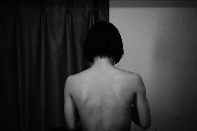 The Portraitist - 2018 EyeEm Awards Rear View Shirtless Indoors  Real People One Person Human Back Curtain Lifestyles Standing Waist Up Adult Women Leisure Activity Home Interior Men Portrait Domestic Room Human Body Part Human Hair Body Part Sexywomen Blackandwhite Black And White Black & White