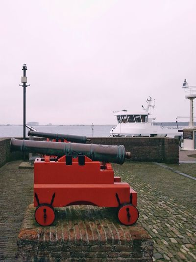 No People Sky Outdoors Water Day Boat Street Lamp White Background Missile Old Vlissingen Netherlands