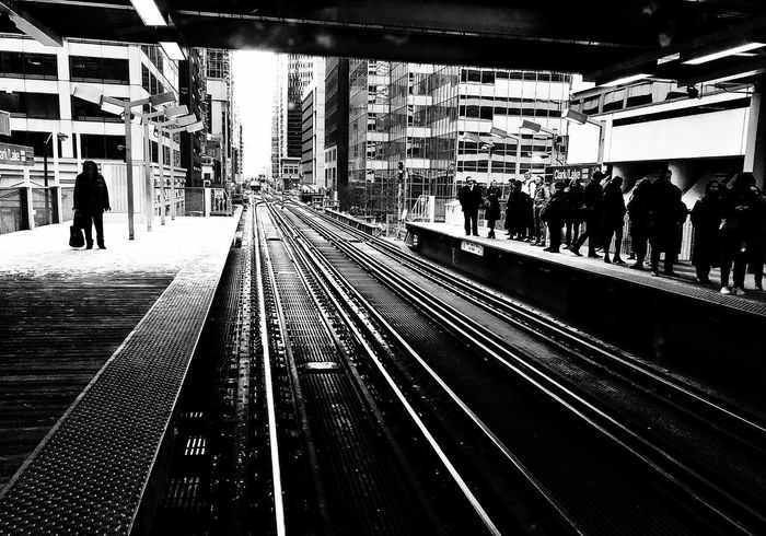 Scenes from the l Commuter Silhouette Streetphotography Blackandwhite CTA Train Real People Day One Person Architecture