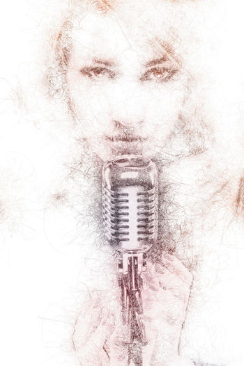 Pencil drawing of a beautiful woman with a microphone. Digitally generated image Abstract Altered Art ArtWork Beautiful Woman Computer Generated Creative Digital Digital Art Digital Watercolor Digitally Generated Drawings Generated Graphic Graphical Illustration Microphone Musician Pencil Drawing People Singer  Sketch Watercolor Woman Woman Portrait