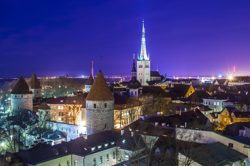 Baltic Countries Church Estonia Panorama Tallinn Tallinn Estonia Tallinn Old Town Travel UNESCO World Heritage Site Wall Architecture Building Exterior Built Structure City Cityscape Illuminated Night No People Outdoors Purple Sky Rosy Sky Sunset Tower Travel Destinations