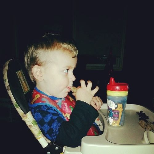 Little man eating all proper like. Almost2
