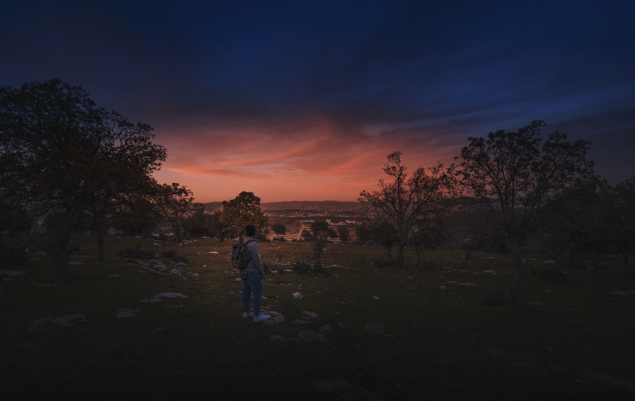 sky, tree, sunset, plant, cloud - sky, real people, scenics - nature, beauty in nature, nature, leisure activity, lifestyles, land, tranquil scene, one person, full length, tranquility, men, field, non-urban scene, outdoors