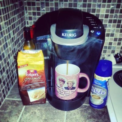 1st cup of coffee in my new house. Vanillabiscotti Keurig Frenchvanilla