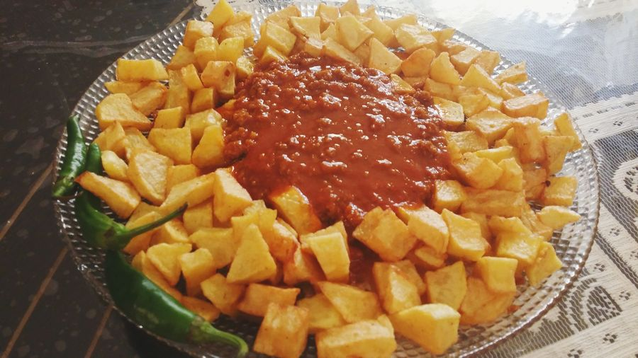 Friedpotatos Mincemeat Peper Delicious ♡ With Special Spice Food And Drink Freshness Indoors  Close-up Ready-to-eat