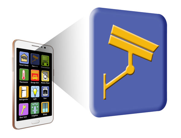 Smart Home apps are shown on a cell phone in this 3-D illustration. Apps Home Isolated Applications  Security Camera Smart Home Smartphonephotography Thermometer Thermostat
