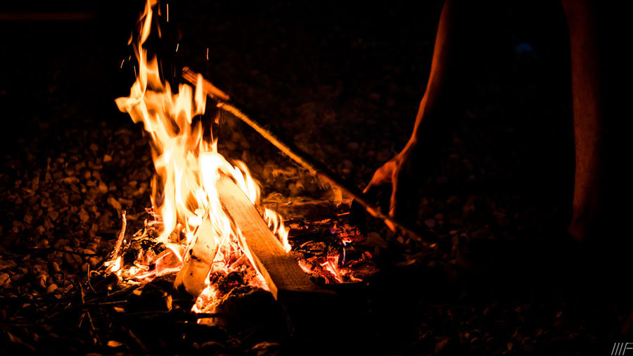 Heat - Temperature Fire Flame Burning Fire - Natural Phenomenon Wood Firewood Bonfire Motion Log Night Nature Orange Color Wood - Material Glowing Campfire Camping Long Exposure Blurred Motion Outdoors No People Dark