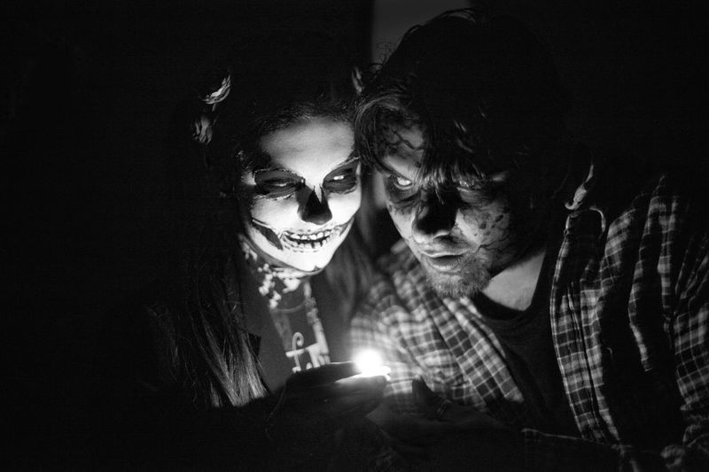 Togetherness Friendship Bonding Lifestyles Leisure Activity Young Women Love Sitting Young Adult Illuminated Friends Person Fun Friend Enjoyment Looking Dark Halloween Halloween Horrors Scary Frightening Shadow Candlelight Night Man
