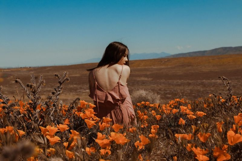 Poppy Fields. One Person Only Women Nature Adult People One Woman Only California Dreamin Poppy Plant Outdoors Beauty In Nature Clear Sky Rural Scene Beauty Adults Only Young Adult One Young Woman Only Women California Dreamin Summer Exploratorium