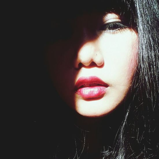 undershadow Taking Photos Red Lipstick Shadow Potrait