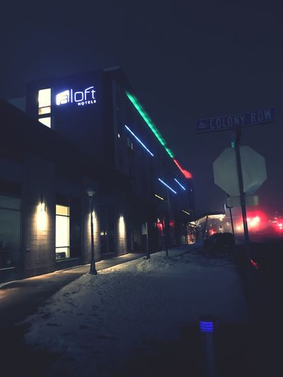Aloft Alofthotel Illuminated Sign Night Road Communication Transportation Street City No People Built Structure First Eyeem Photo
