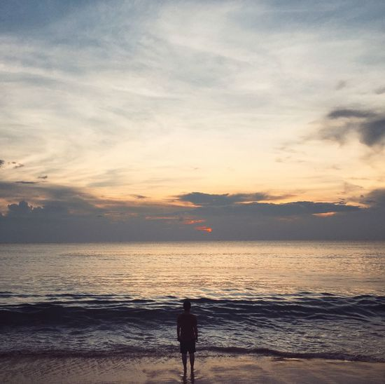 Beach Beauty In Nature Day Horizon Over Water Nature One Person Outdoors People Real People Scenics Sea Silhouette Sky Standing Sunset Water
