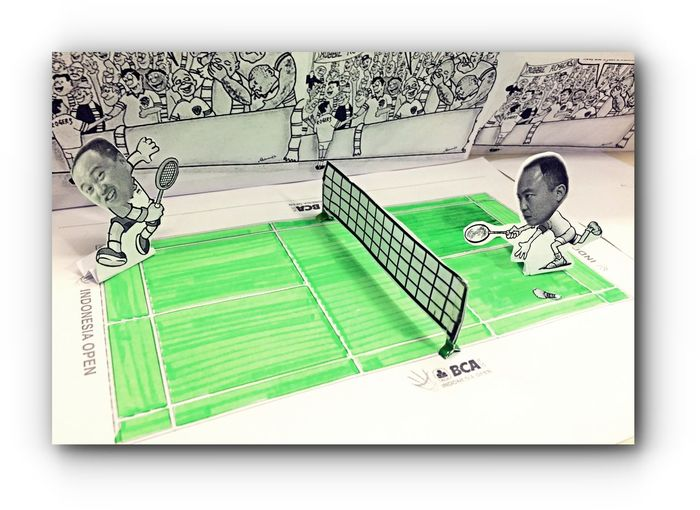 Accoustick Badminton Badminton Court Cute And Funny Final's Round Green Indonesia Open 2016 Paperart Semarang Side By Side Smash