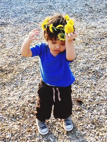 Grandson on walk and mom put dandelion atop his head... He loves walks and picking flowers