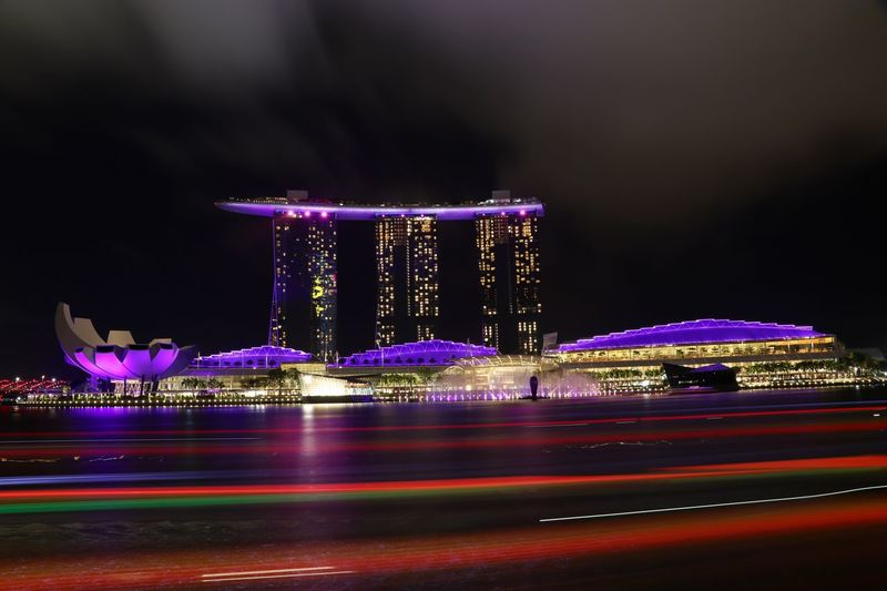 Night Illuminated Blurred Motion Long Exposure Speed Architecture Motion Light Trail Building Exterior Built Structure Outdoors Sky City No People Road Cityscape Water Nature