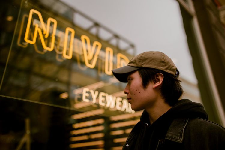 MOOD Neon Lights Focus On Foreground portrait of a friend Portrait Photography City Illuminated Portrait Neon Headshot Mid Adult Mid Adult Men Text Close-up Store Window Introspection Window Shopping Day Dreaming
