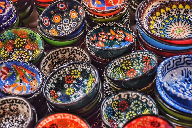 Full frame shot of colorful bowls for sale