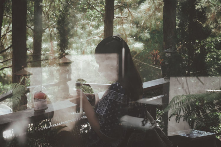People sitting by window in forest