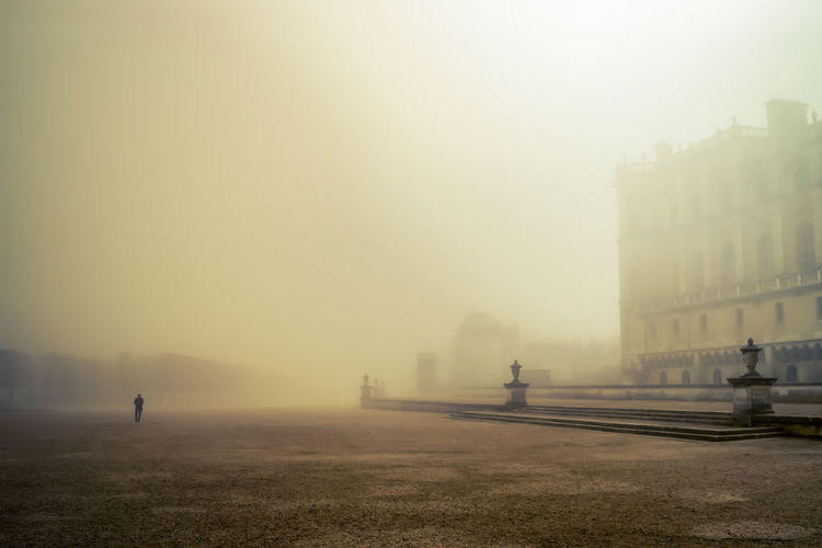 Parc du Chateau, Saint-Germain-en-Laye Architecture Travel Destinations Morning Outdoors Winter Tourism Sky Europe France Garden Park Mist Trees Light And Shadow Moody Dramatic Sky Formal Garden