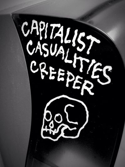 Capitalism Csualties Creeper Skull Death Tagging Graffiti Street Art Blackandwhite Handwriting