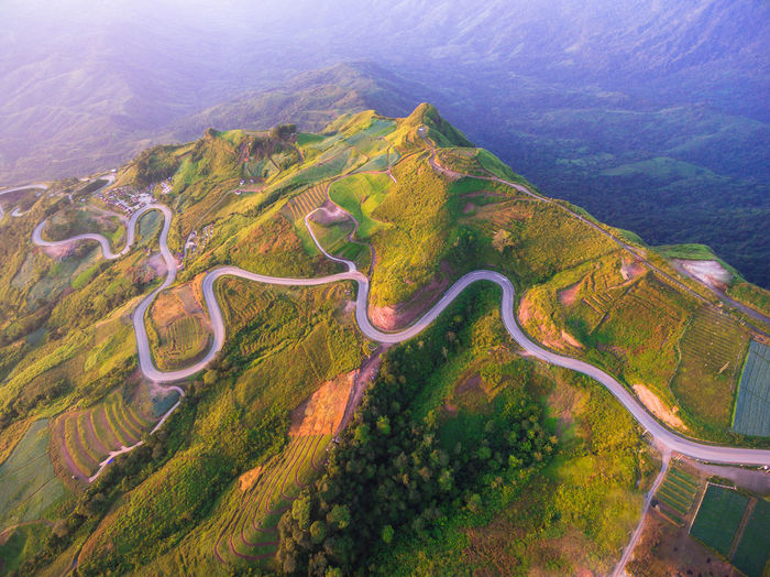Aerial View Awe Beauty In Nature Day Landscape Mountain Mountain Road Nature No People Outdoors Scenics Terraced Field Winding Road