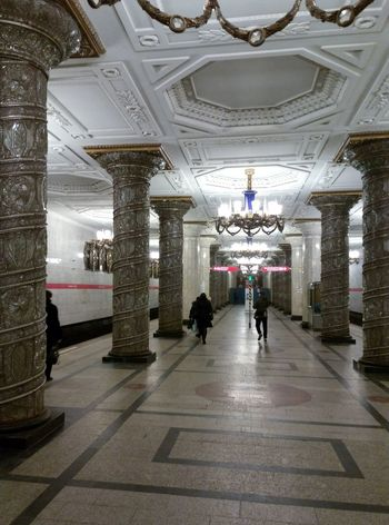 Interior Design and Architectural Detail of Avtovo Subway in Saint-Petersburg are like in some Undeground Palace! Enjoy Light And Shadow play in old Russian Metro Station.