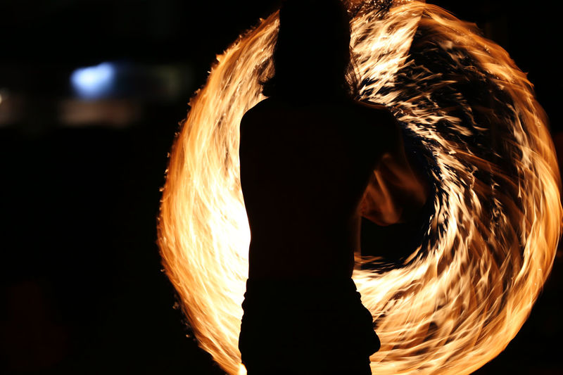 Tunnel of fire Beach Performer Langkawi Island Malaysia Night Entertaiment Night Lights Pantai Cenang Quick Hands Silhouette Spining Wheel Swirling Fire