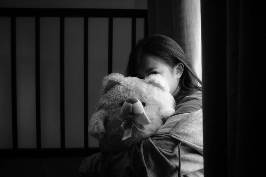 """hide me"" EyeEm Best Shots Monochrome EyeEm Gallery EyeEm Best Shots - Black + White EyeEmBestPics EyeEm Black And White Blackandwhite Black & White Girls Portrait Women Young Women One Person Stuffed Toy Indoors  One Girl Only People Children Only Childhood Teddy Bear Young Women Young Adult Adult"