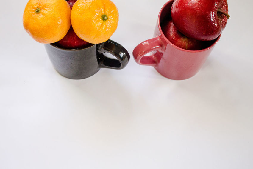 Eggplant Orange Apple - Fruit Apples Close-up Day Freshness Fruit Healthy Eating Healthy Lifestyle No People White Background