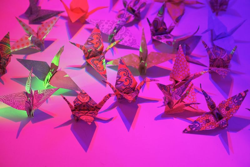 Paper Crane Party Oragami Pink Color Art And Craft Creativity Purple Paper Indoors  No People Close-up Multi Colored