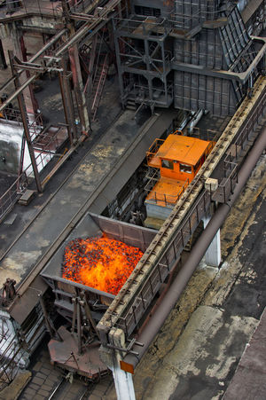 NLMK, Altai coke plant, Russia, metallurgy, wewalka coke from ovens Day Engineering Freshness High Angle View NLMK, Altai Coke Plant, Russia, Metallurgy, Wewalka Coke From Ovens Orange Color Railing Transportation