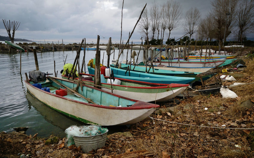 fishing boats moored in an harbor of Trasimeno Lake, Umbria, Italy, on wintertime Fishing Boat Fishing Net Winter Moored Moored Boats Harbor Lake View Trasimenolake Vibrant Color Cloud - Sky Umbria, Italy Nautical Vessel Water Outdoors Bare Tree Anchored No People