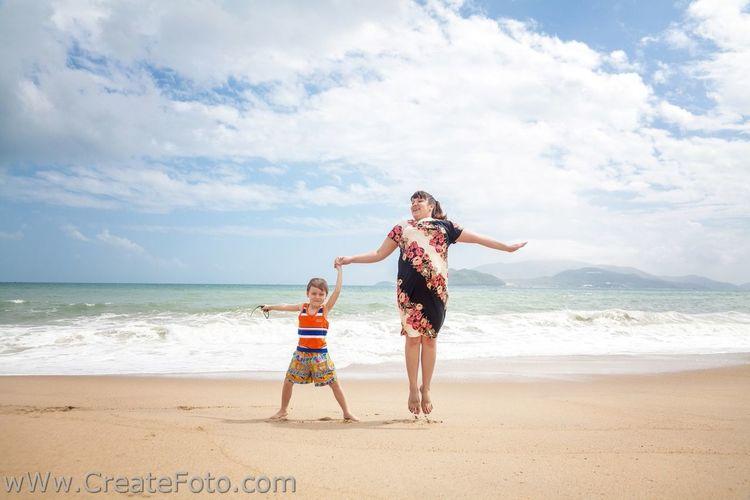 Everyday Joy Beach Jump Family Mather Son Vacation Summer Sand Sky
