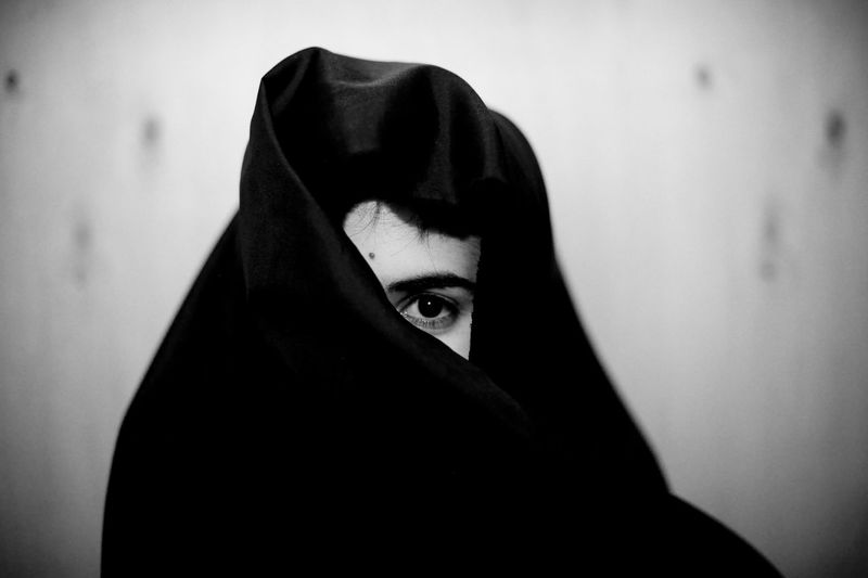 Capture Tomorrow Beauty Spot Black And White Fine Art Photography Confidence  Contemplation The Portraitist - 2016 EyeEm Awards Covered Culture Curves Eye Fashion Girl Golden Section Grey Lifestyles Muslim Muslim Woman Portrait Religion Single Eye Rebel Rebel Veil White Background Woman My Favorite Photo The Week On EyeEm My Best Photo