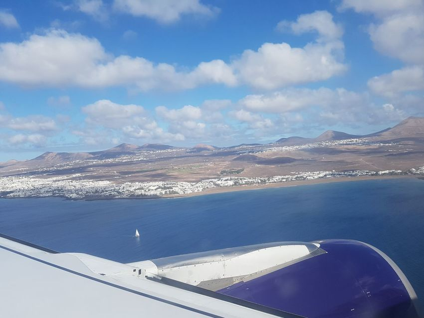 Aircraft Wing From An Airplane Window Lanzarote Island Lanzarote Lanzarote Paradise Mountains And Sky