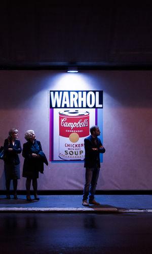 Art Cropped Frame Illuminated Night Real People Spotlight Streetphotography Warhol