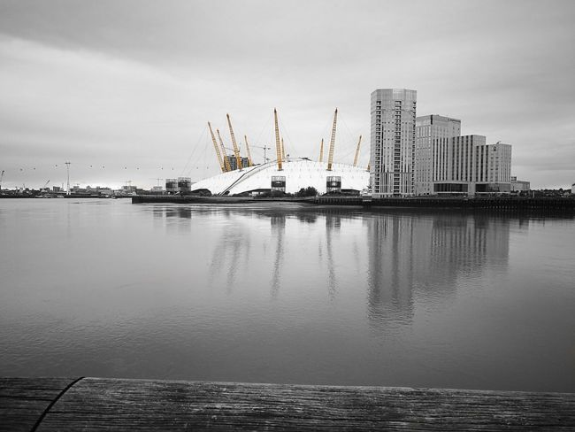 O2 Arena London Uk Capital City Cityscape River Themes Architecture Black And White Colour Splash Yellow Landscape Skyline Horizon Over Water View EyeEmNewHere
