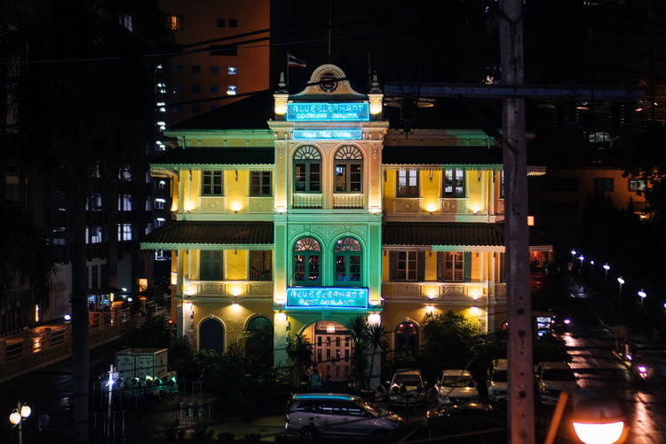 Architecture Built Structure Illuminated Building Exterior Night City Motor Vehicle Building Car Mode Of Transportation Travel Destinations Incidental People Transportation Land Vehicle Street Façade History The Past Travel