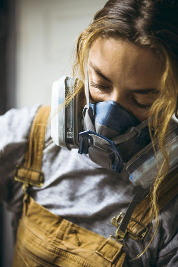 Close-up of woman working
