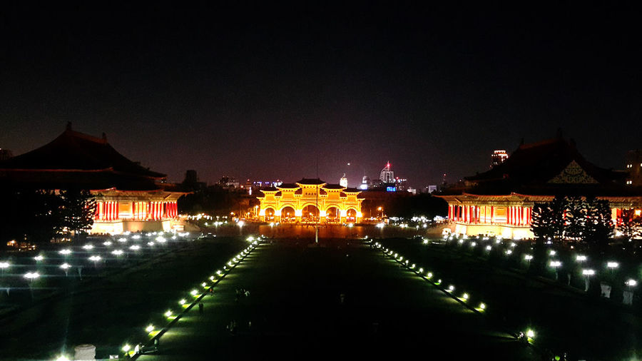 Night Illuminated Politics And Government Celebration No People Travel Destinations Outdoors City Sky Cityscape Architecture Chiangkaishekmemorialhall Chiangkaishek Taipei,Taiwan Taipei City Building Exterior Built Structure Cityscape Taipei Lost In The Landscape