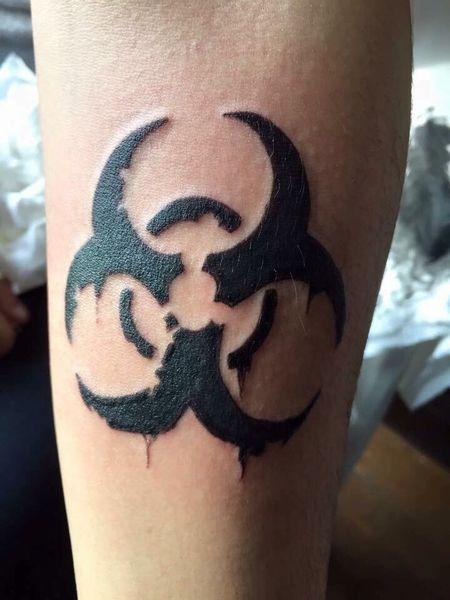 Tatoo Tattoo Biohazard Blackandwhite