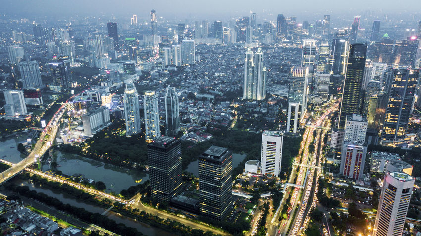 Jakarta Aerial View Architecture Building Building Exterior Built Structure City City Life Cityscape Crowd Crowded Financial District  High Angle View Landscape Modern Office Building Exterior Outdoors Residential District Skyscraper Tower Travel Destinations Urban Skyline
