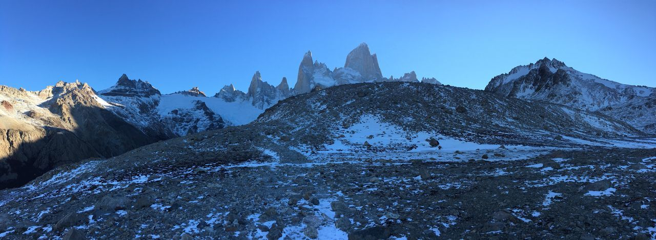 Clear Sky Scenics Snow Blue Winter Tranquil Scene Beauty In Nature Mountain Cold Temperature Tranquility Nature Rocky Non-urban Scene Majestic Mountain Peak Remote Mountain Range Outdoors Day Extreme Terrain Fitzroy Snowcapped Mountain Fitz Roy Mountain Patagonia Argentina Argentina