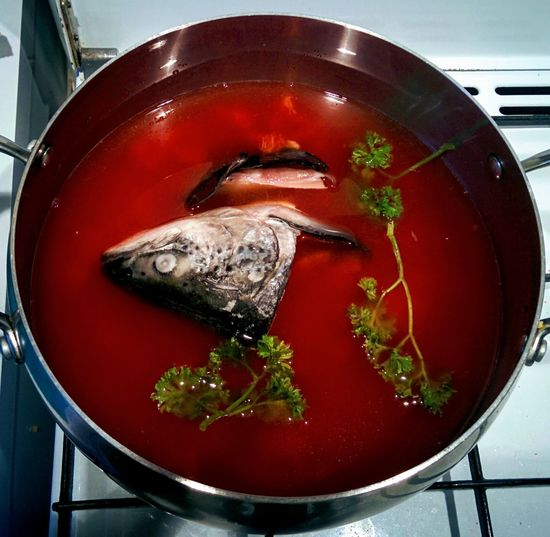 Close Up Of Fish Head Soup On Stove