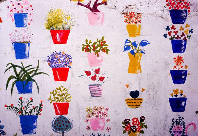 Paint Wall Wall Art Wall Painting Flower Flowerpot Flowerpots Flowers Multi Colored Wall Art Colorful Wall Paint