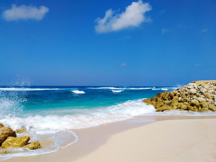 great blue Wave Water Sea Beach Sand Blue Sky Seascape Rocky Coastline