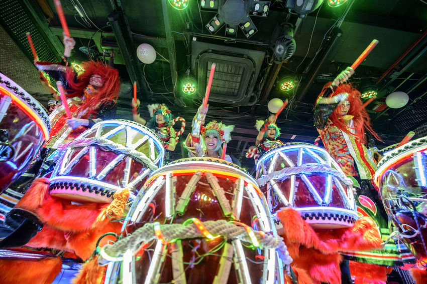 performance at the robot restaurant Colorful Colourful Indoors  Indoors  Japanese Drums Kabukicho Low Angle View Multi Colored Music Neon Lights Night Performance Robot Restaurant Shinjuku Stage Costume