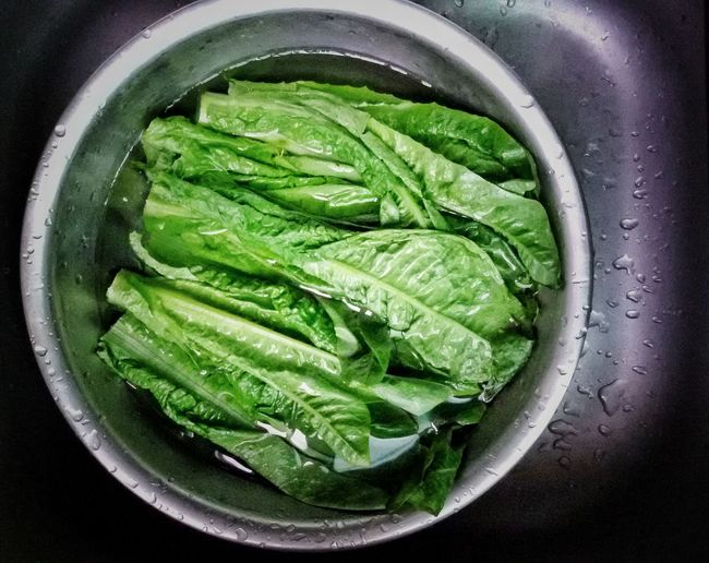High angle view of leaf vegetables in bowl on sink
